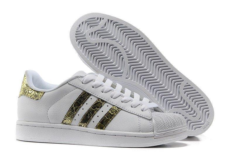 zapatillas adidas superstar 2 bling g62845 cuero blancas oro