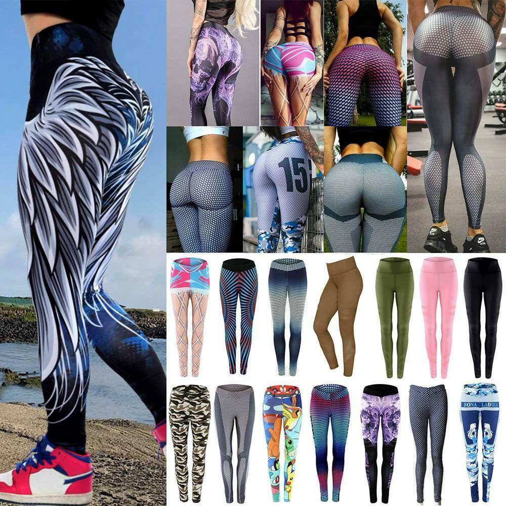 Women High Waist Yoga Pants Leggings Push Up Anti-cellulite Ruched Trousers C2