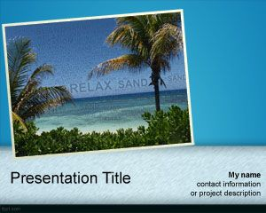 Free Travel Powerpoint Template With Island Picture Beach And Palms
