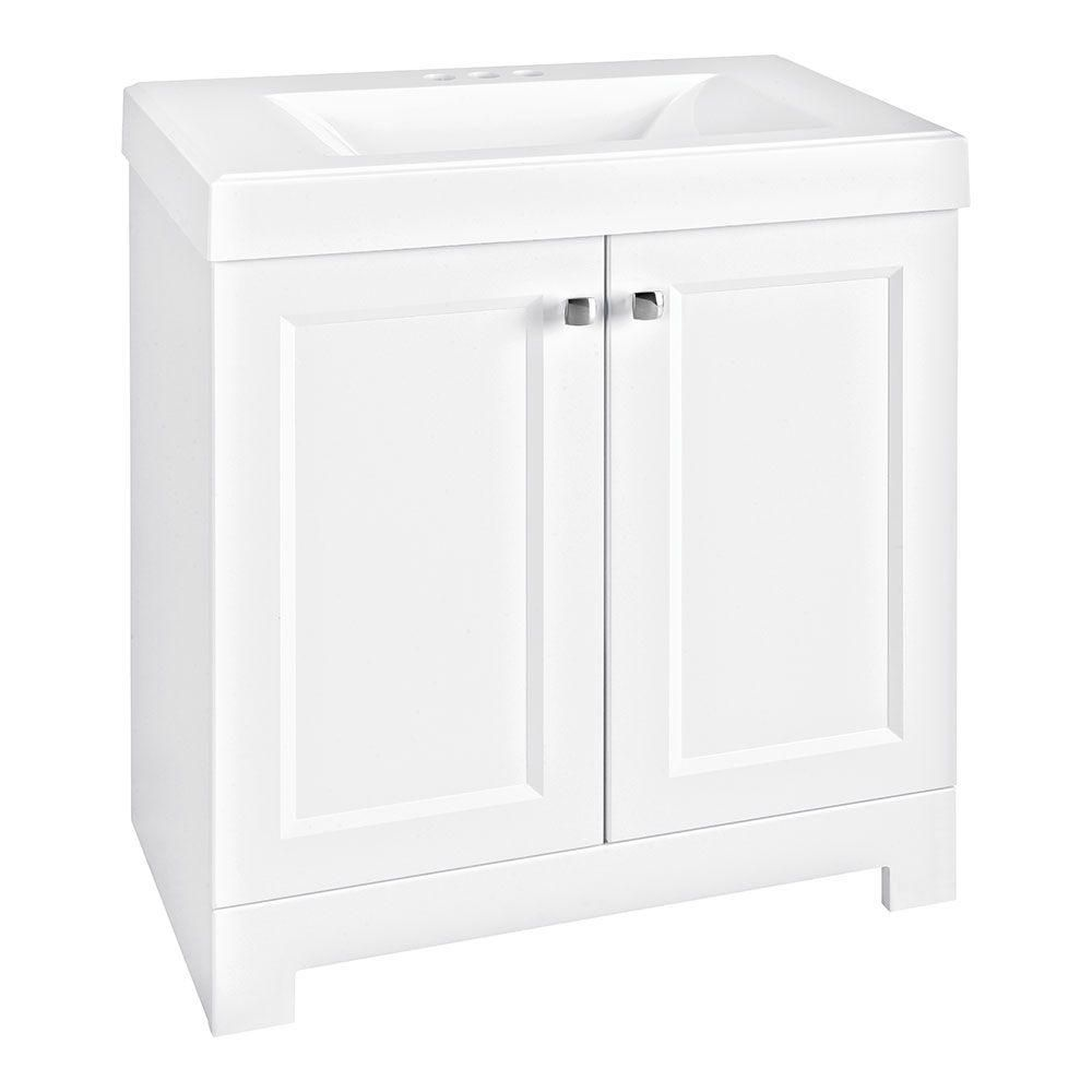 Glacier Bay Shaila 305 Inw Bath Vanity In White With Cultured Glamorous 30 Bathroom Vanity With Top 2018
