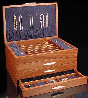 Grand Cascade Ii Jewelry Box In Bubinga Wood Jewelry Box Wooden Jewelry Boxes Jewelry Box