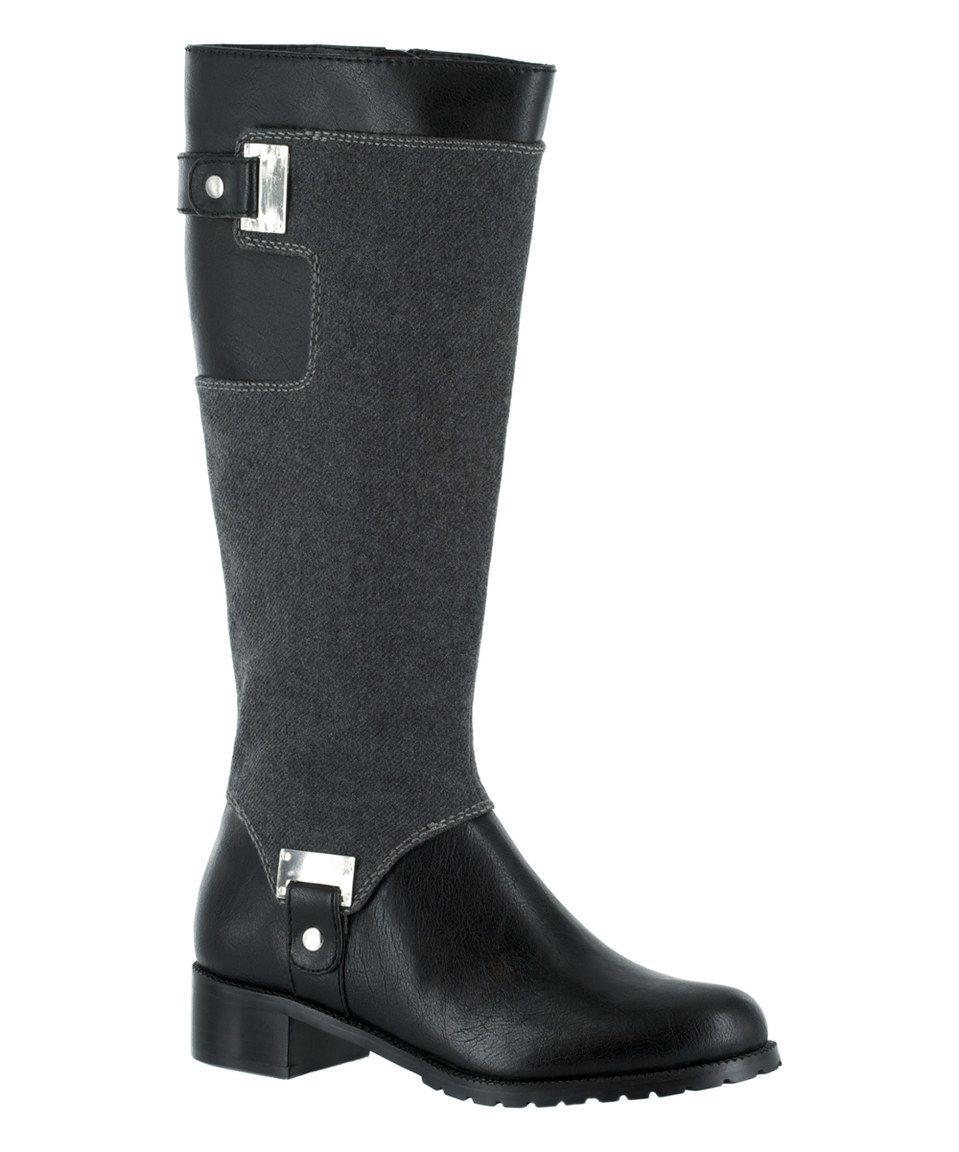 Black & Gray Anya II Riding Boot by Bella Vita #zulily #zulilyfinds