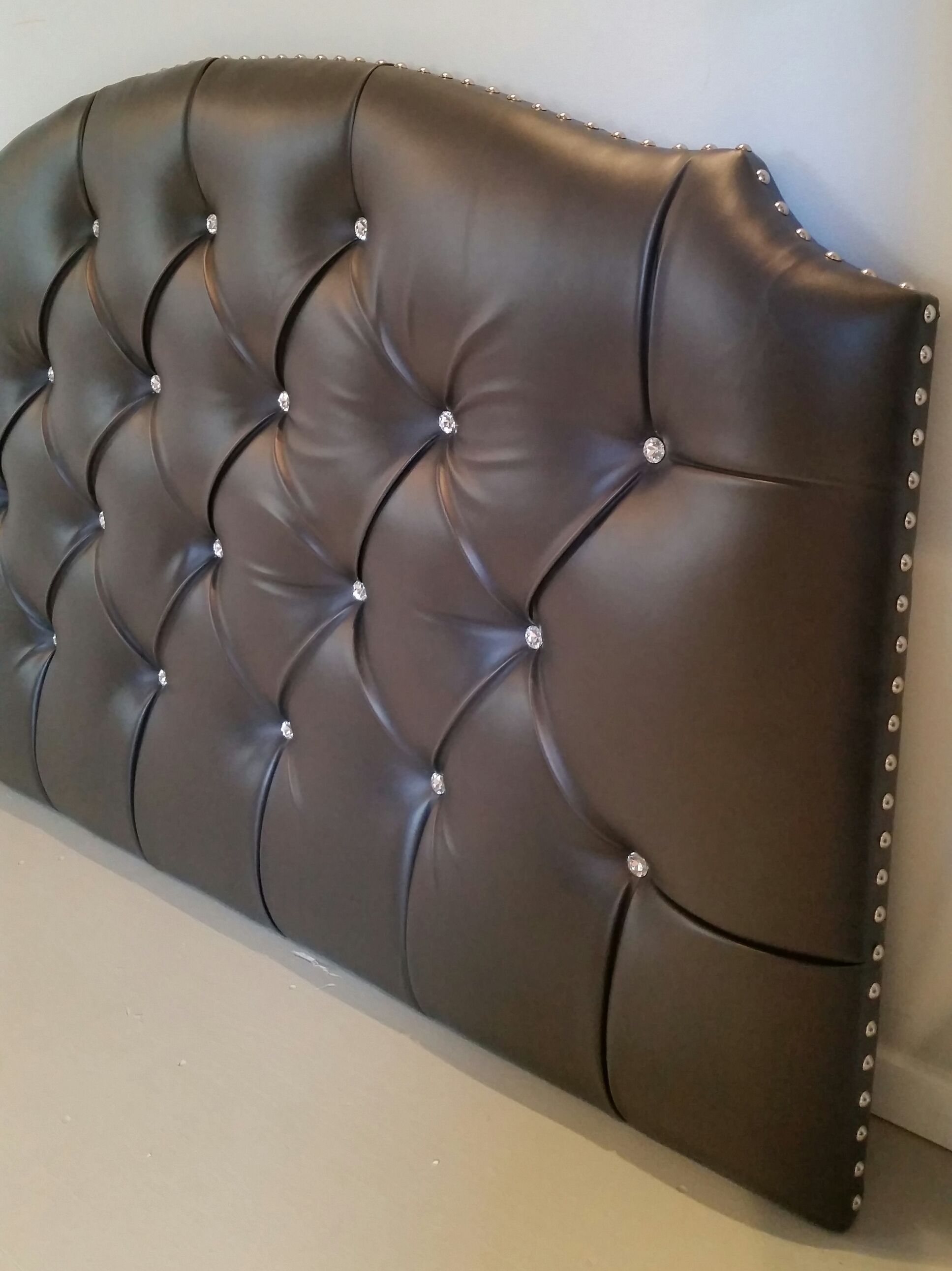 full size headboard tufted upholstered faux leather gray crystal buttons nail head trim custom. Black Bedroom Furniture Sets. Home Design Ideas