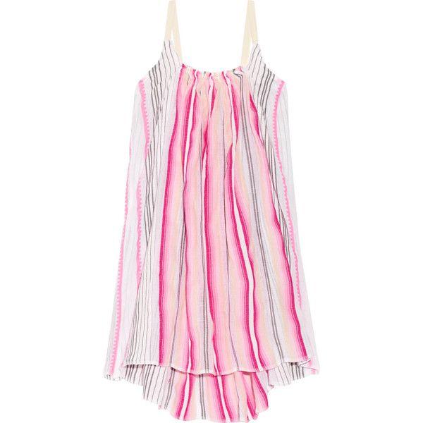 LemLem Aden striped cotton-blend gauze mini dress ($280) ❤ liked on Polyvore featuring dresses, pink, short pink dress, stripe dresses, pink slip dress, pink mini dress and slip on dress