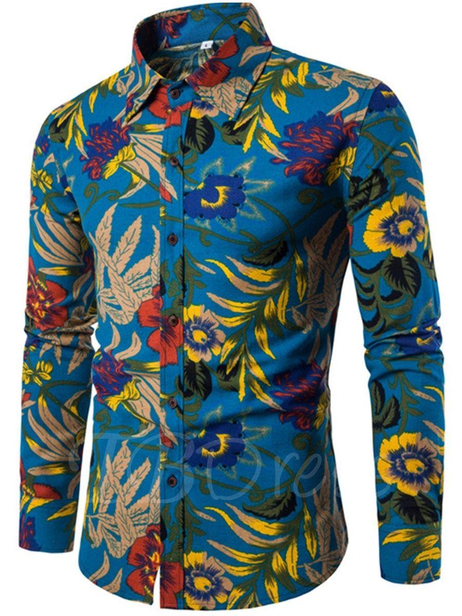 723aef6abc9c Tbdress.com offers high quality Lapel Ethnic Linen Ethnic Printed Slim Men s  Long Sleeve Shirt Men s Shirts unit price of   16.99.