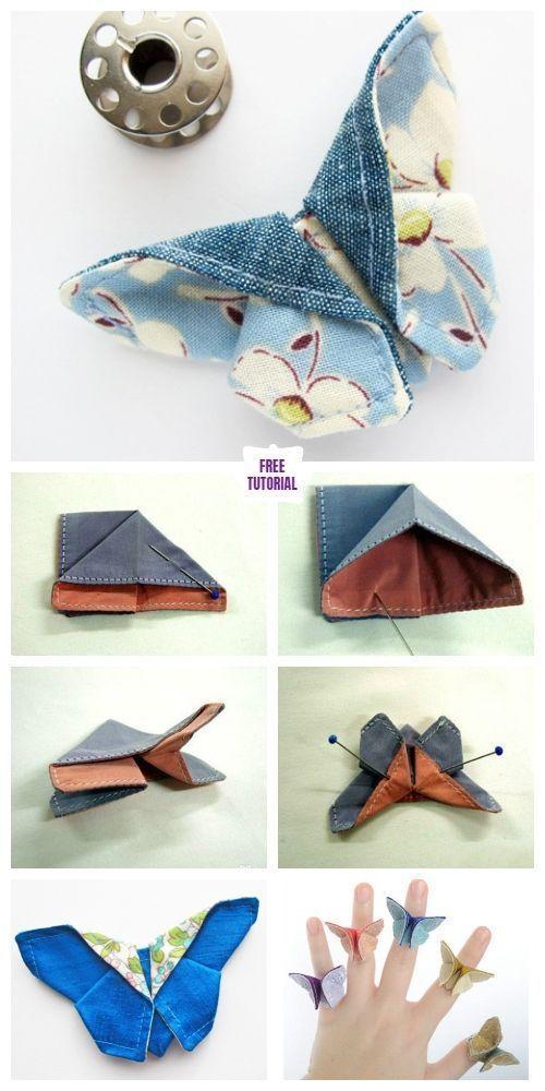 DIY Origami Stoff Schmetterling Schnittmuster und Anleitung - Lily de Sat - DIY Papier Blog #origamianleitungen
