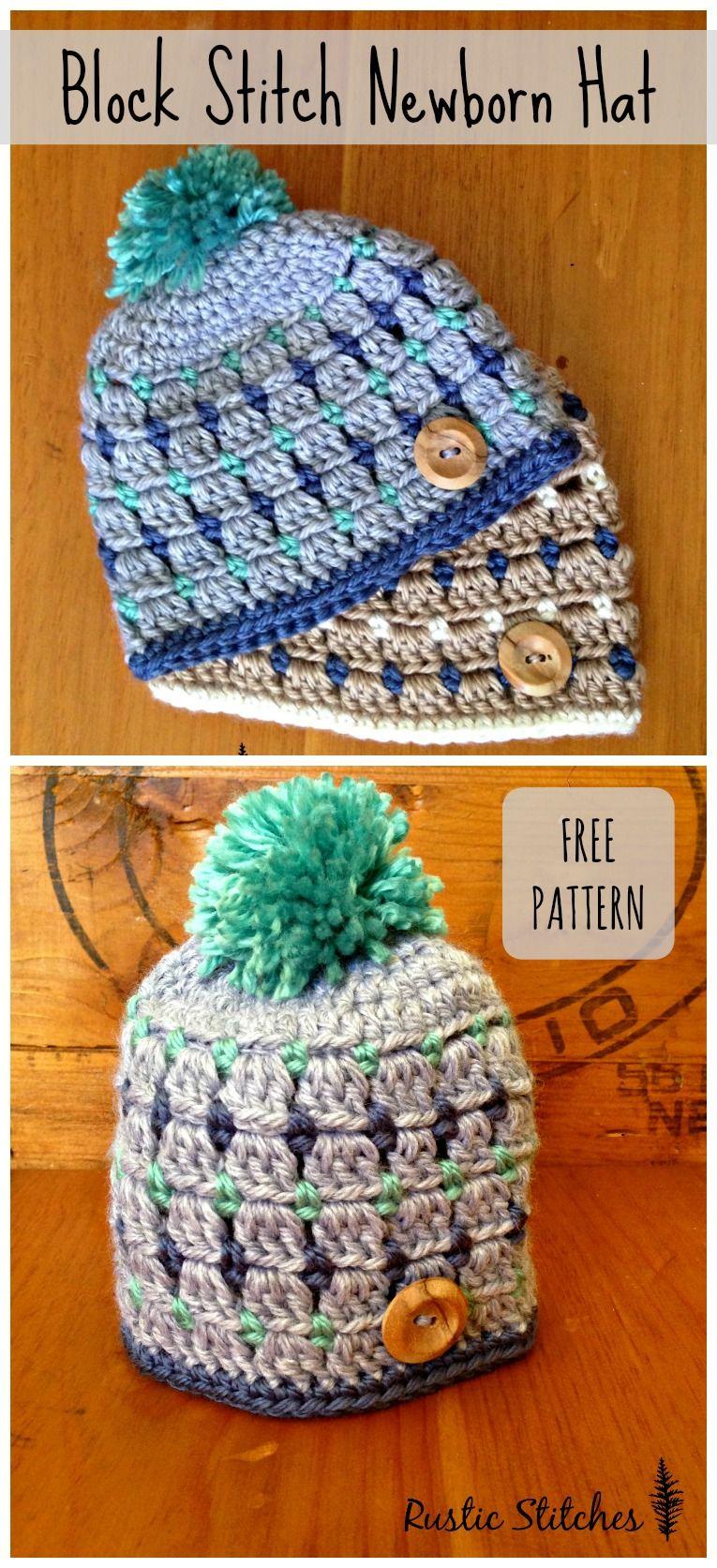 Crochet Newborn Hat - Free Pattern   Baby Things   Pinterest ...