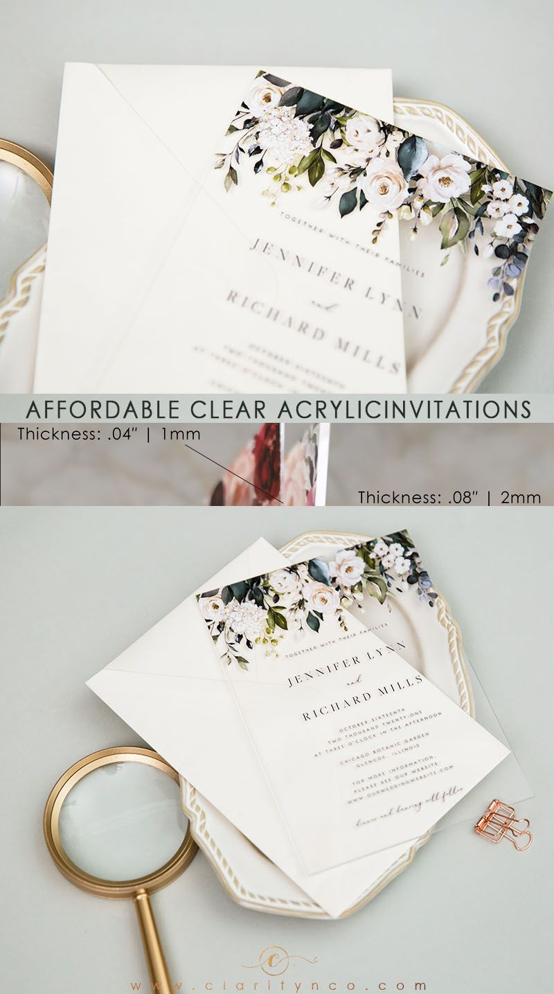 Affordable white flower clear acrylic wedding invitations