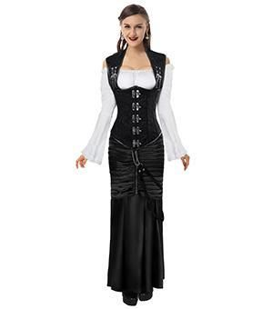 steampunk steel boned underbust corset dress