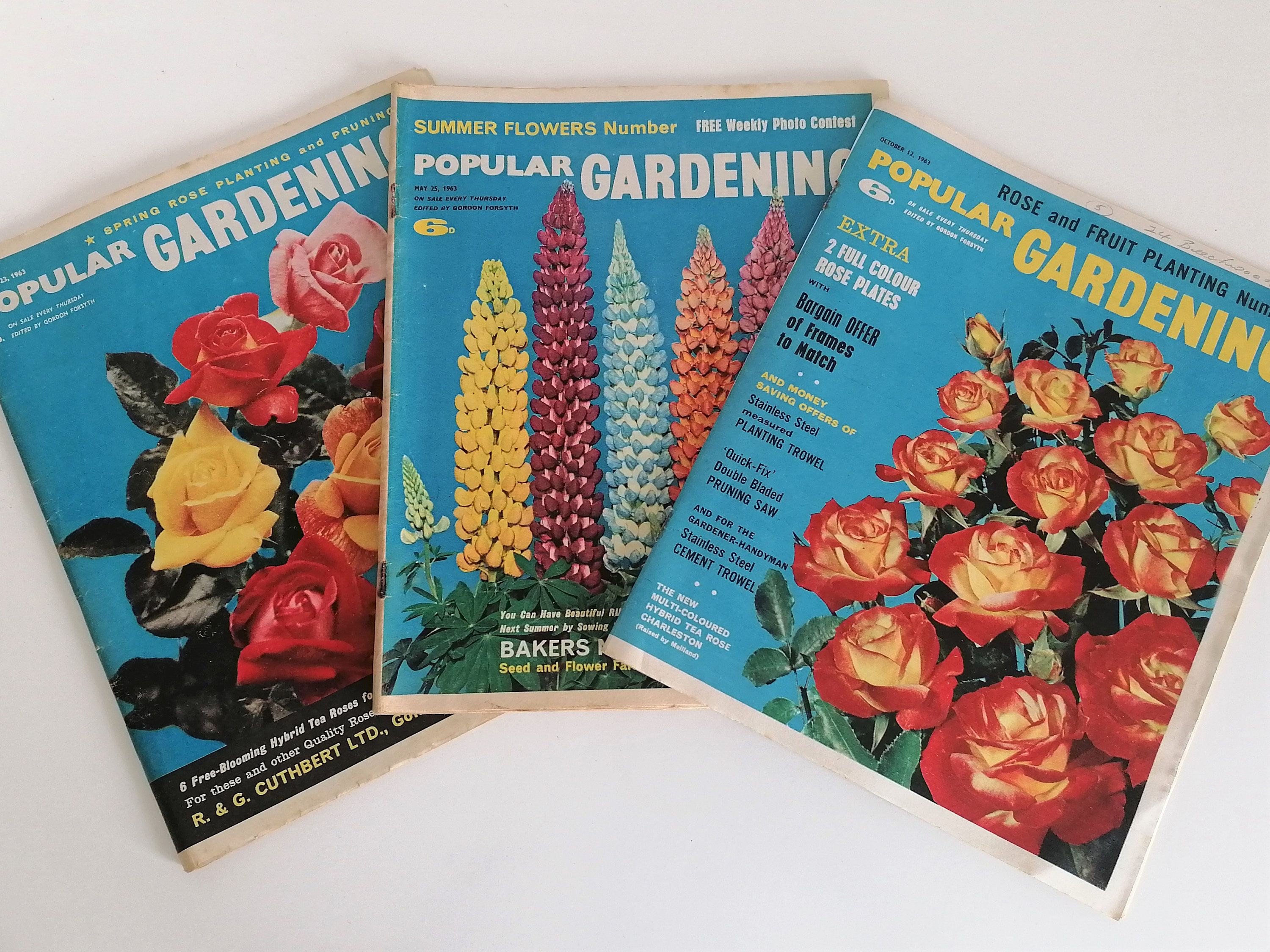 3 Popular Gardening Magazines 1963 Vintage Bright And Colourful