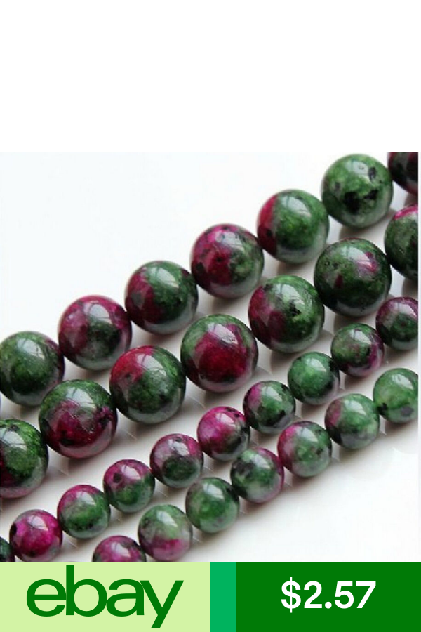 """4mm 6mm 8mm 10mm 12mm Red Green Ruby Zoisite Round Loose Beads 15/"""" Strand  AA"""