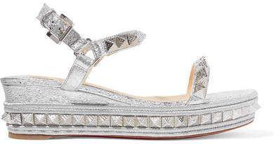 8f435a77eafd Christian Louboutin Pyraclou 60 Spiked Metallic Textured-leather Wedge  Sandals - Silver