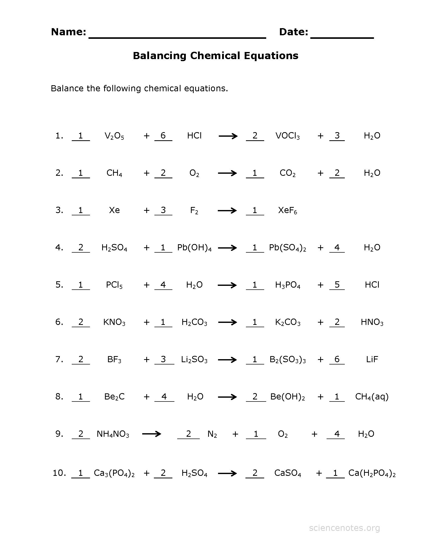 Inspirational Worksheet Writing And Balancing Chemical