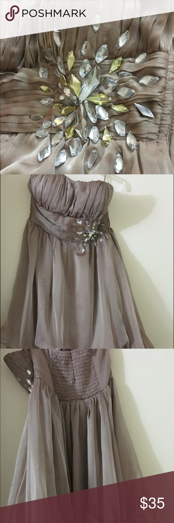 Windsor Beige/ Brownish Dress Lovely, lightweight dress that can be paired with nice heels ☺️ worn once for a dance, still in new condition. The length is above the knees ❌no refund ❌ WINDSOR Dresses Strapless