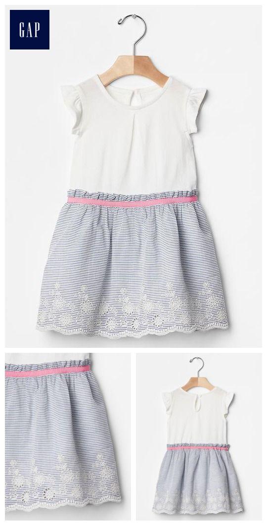 Flutter mix-fabric eyelet dress
