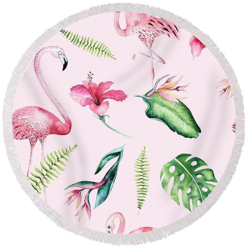 Flamingo And Hibiscus Round Beach Towel Made In Usa Beach
