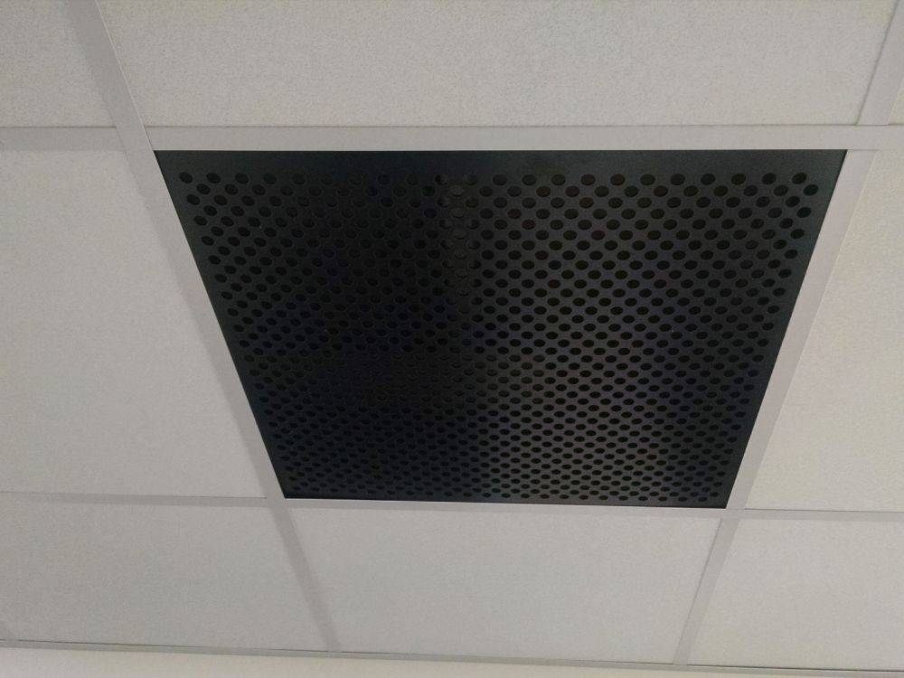 Black Plastic Perforated Tile Return 080 Thick With 1 2 Perforations 4994b 100 50 In 2020 Metal Ceiling Tiles Ceiling Grid Plastic Sheets