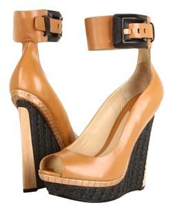 Brian Atwood Camel/Tan Wedges