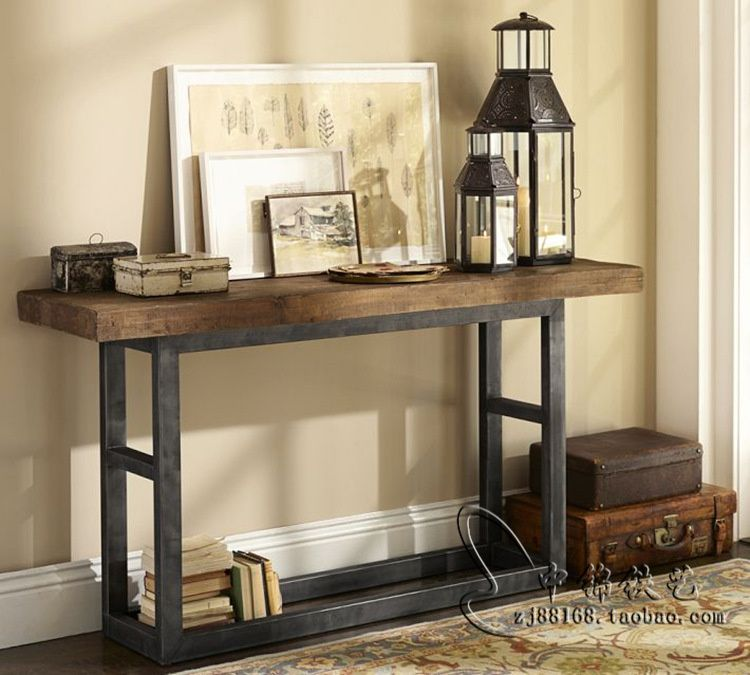 American Retro Wood Console Table Wrought Iron Entrance