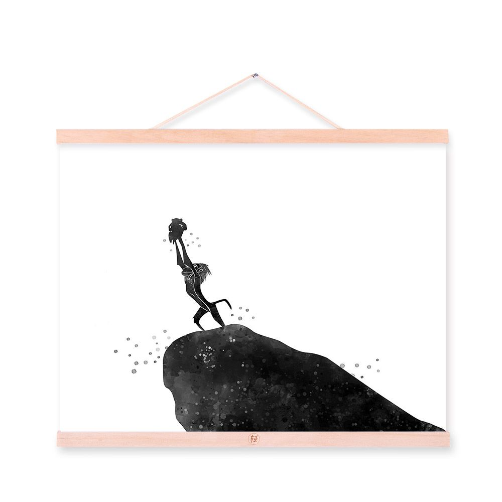 Watercolor Black White Cartoon Movie Lion King Wooden Framed Canvas A4  Painting Home Decor Wall Art