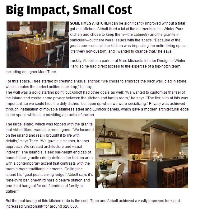 Big Impact, Small Cost. Sometimes a kitchen can be significantly improved without a total gut-out.