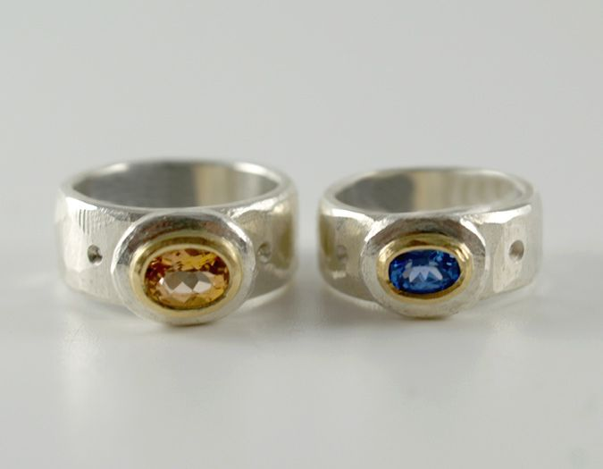 Rings by John Robinson in Sterling Silver and 18ct gold with Topaz and Ceylon Sapphire