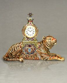 Jay Strongwater Suleyman Tiger Clock Horchow - Stylehive