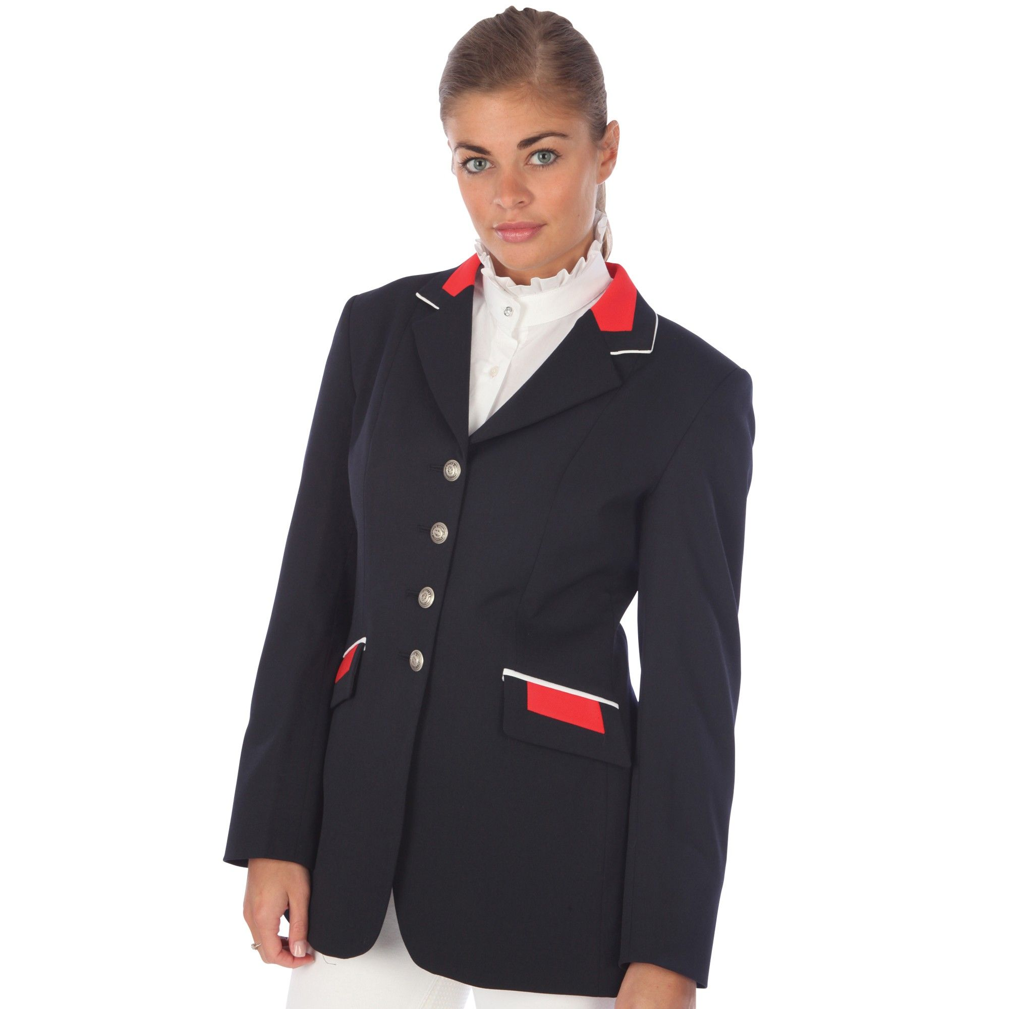 A slim fit double rear vents show jacket perfect for the showing season.