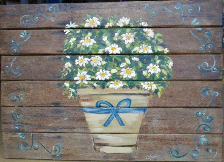 Quadro em madeira rústica com pintura artesanal . Tamanho: 0.82cm x 0.60cm