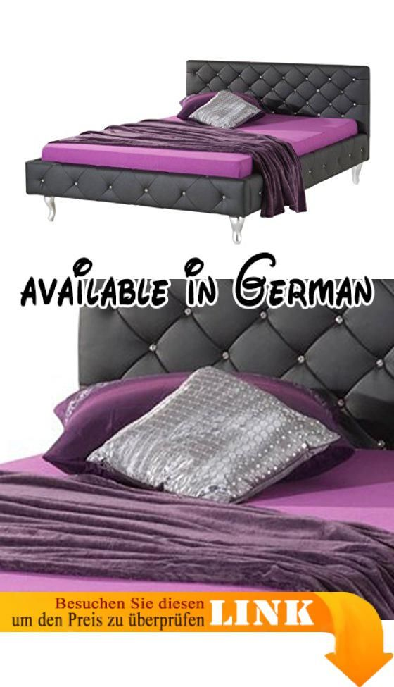 B00BFESDG8  Bett San Diego Kunstleder schwarz mit - schlafzimmer set 180x200