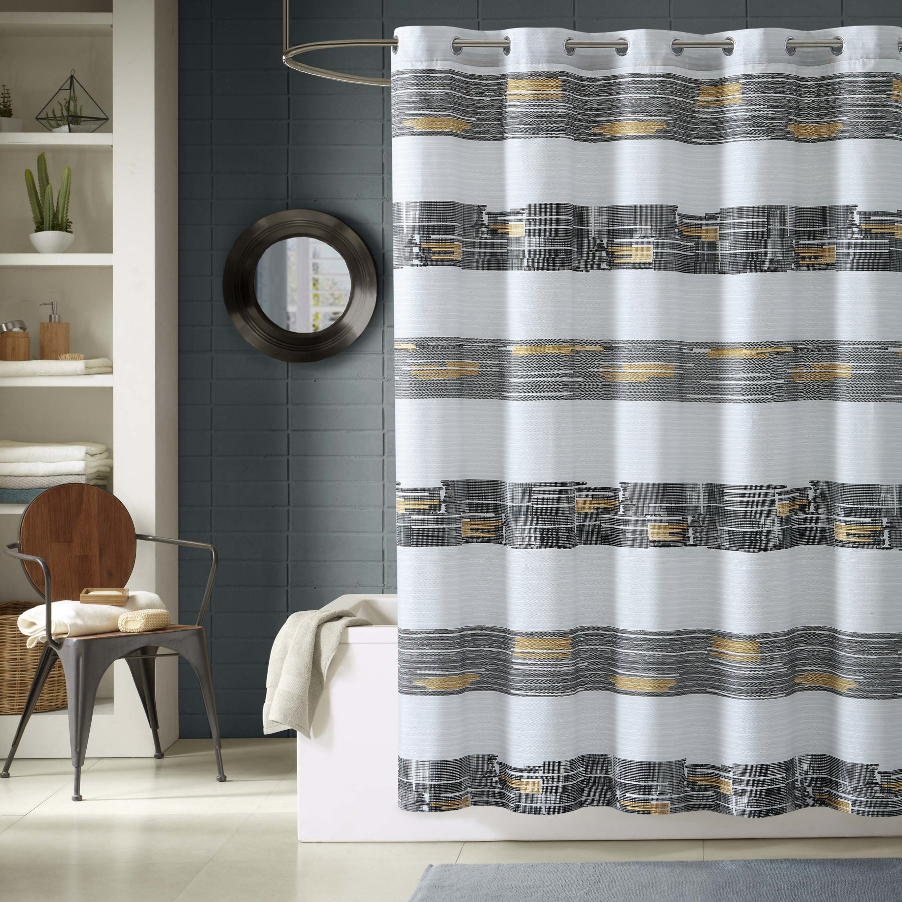 Lemon Spice Damien Polyester Shower Curtain Cool Shower