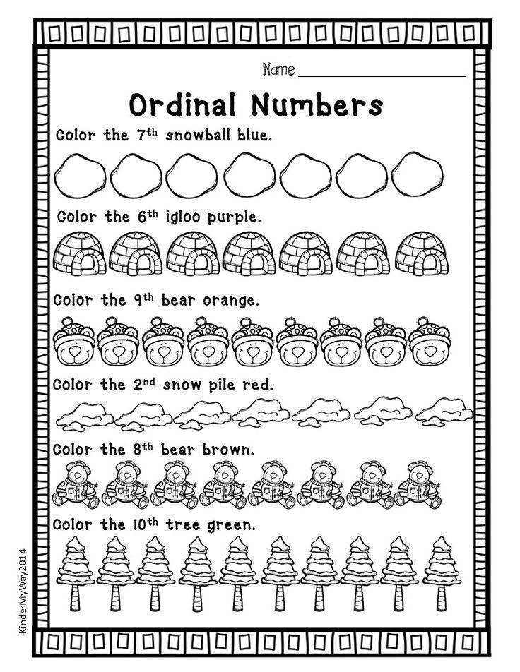 Winter Math Worksheets Ordinal numbers, Math worksheets