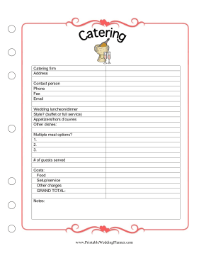 the wedding planner catering worksheet helps you make sure everybody