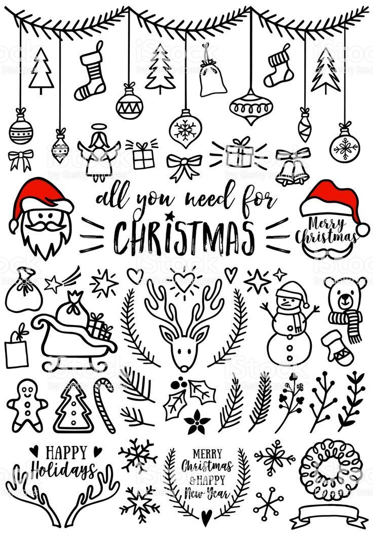 Hand drawn Christmas doodles for cards, banners, set of vector design...