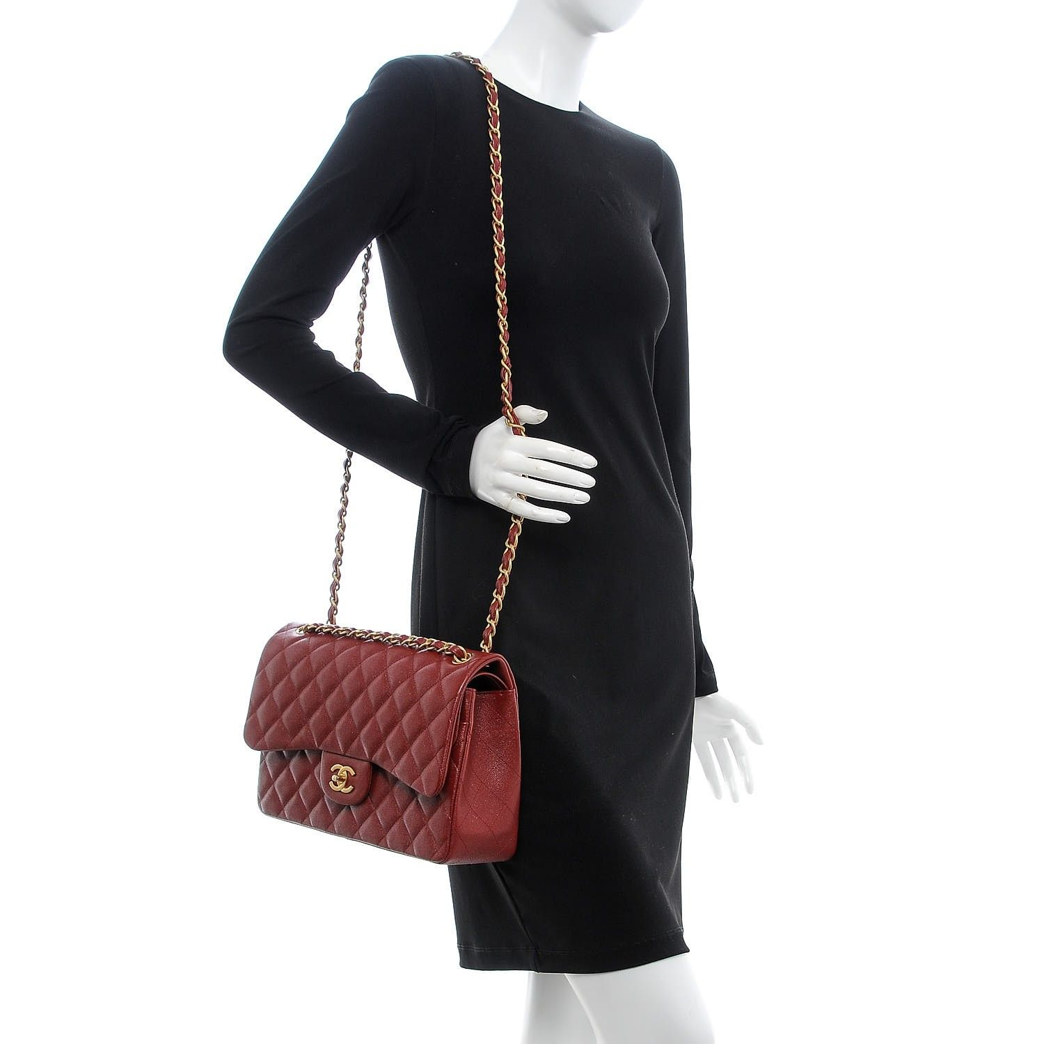 a3f8eb235264 CHANEL Iridescent Caviar Quilted Jumbo Double Flap Burgundy | Bags ...