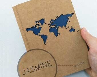 Travel journal with custom name and world map custom name notebook travel journal with custom name and world map custom name notebook with map custom bullet journal personalized notebook in a5 size gumiabroncs Images