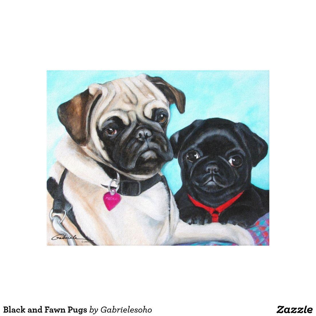 Black And Fawn Pugs Canvas Print Pug Pug Art Dog Art Fawn Pug