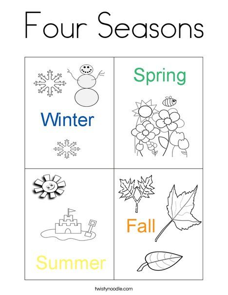 Four Seasons Coloring Page From Twistynoodle Com Seasons