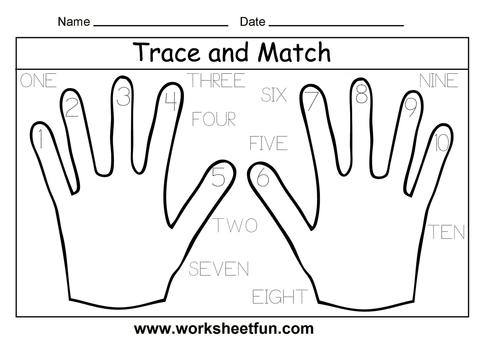 6 Numbers 1 10 Handwriting Worksheets