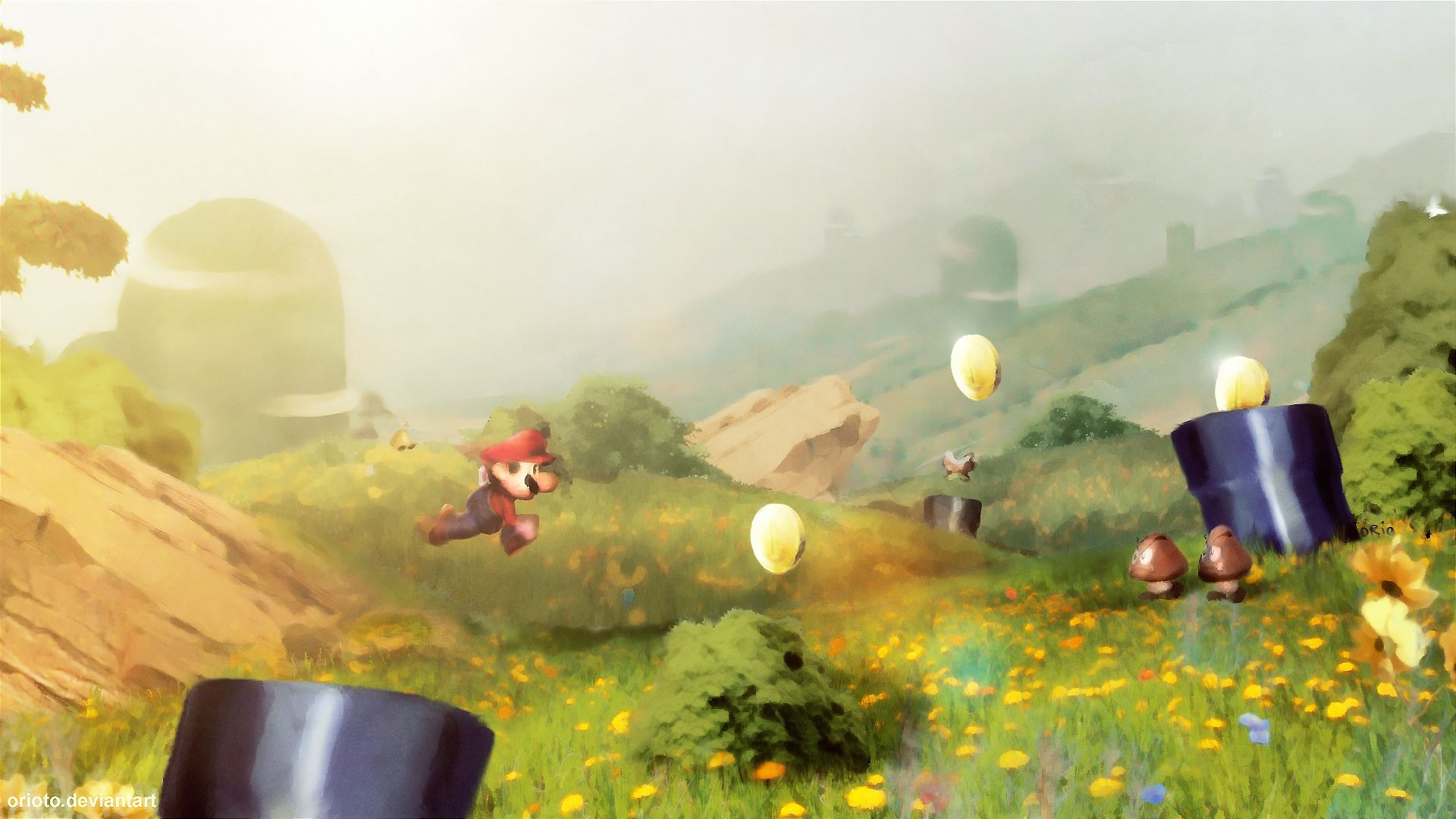 Game with watercolor - Paintings Video Games Mario Wallpaper 125399 Wallbase Cc