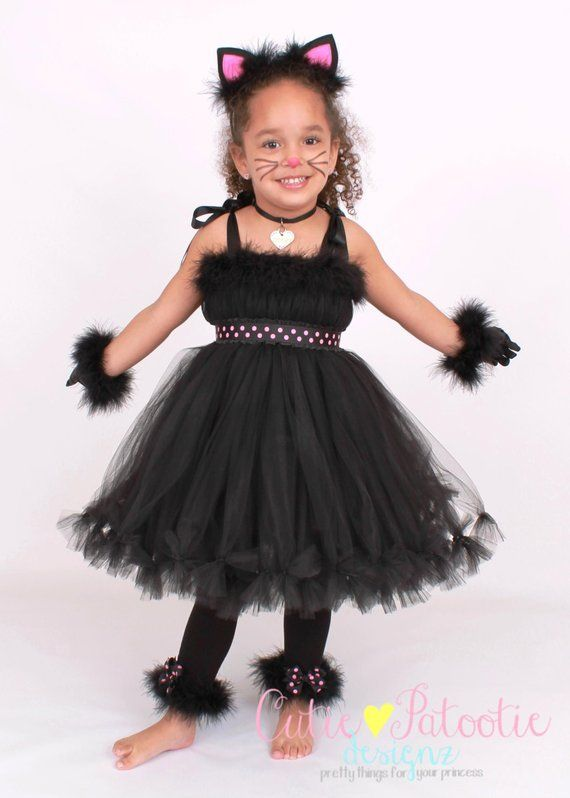 4d35ef619a41 COMPLETE COSTUME: Ready to Ship - Petti Tutu Dress - Halloween Cat or  Kitten Costume - Black and Pi