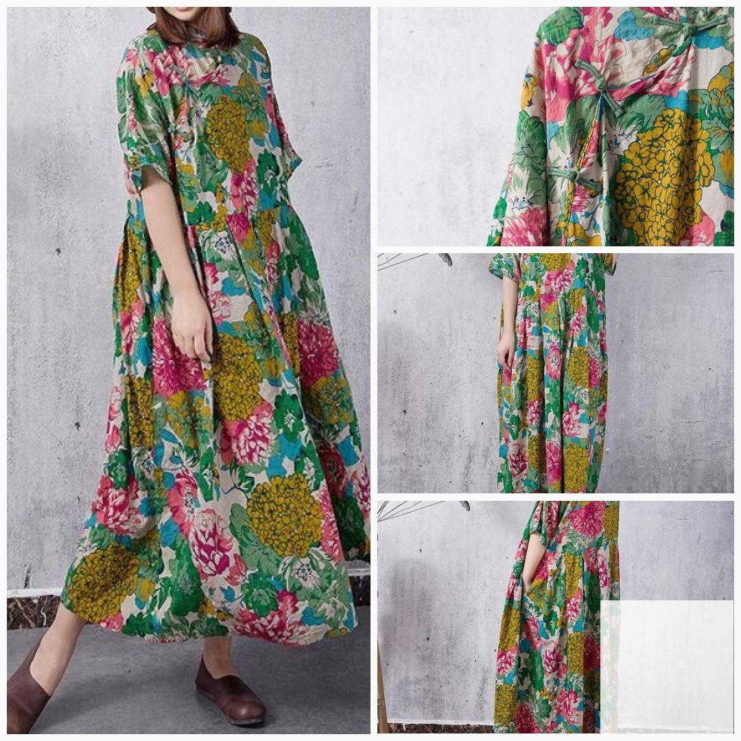 Summer long maxi dress cotton large size women green dress etsy sy
