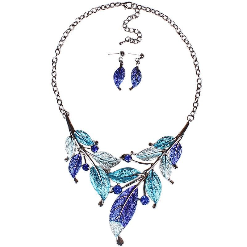 Women Ladies Vintage Painted Oil Beaded Crystal Pendant Leaf Shape Jewelry Set