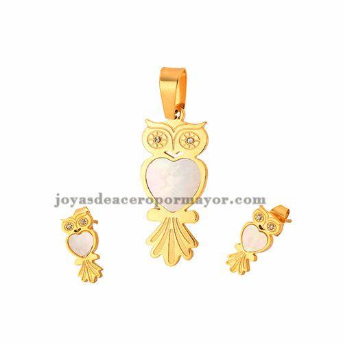 juego de joyas de buho con concha de acero dorado -SSSTG162366