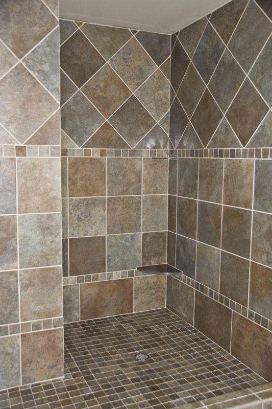 Walk in shower tile design Bathrooms Pinterest Shower tiles