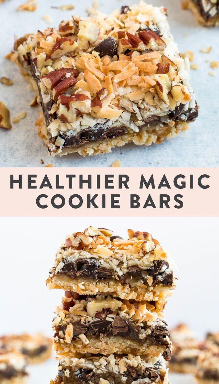 Healthier magic cookie bars made grain-free, gluten-free and vegan with homemade sweetened condensed coconut milk.#glutenfree