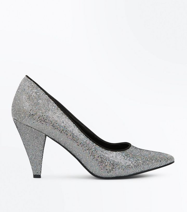 734a3cab8dfa Wide Fit Silver Glitter Cone Heel Court Shoes