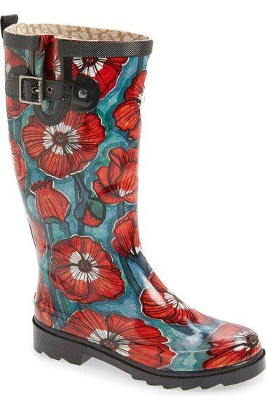 Chooka 'Watercolor Poppy' Rain Boot (Women) available at #Nordstrom