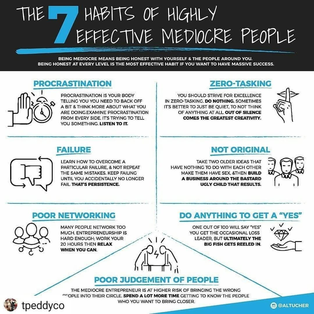 7 Habits Of Highly Effective Mediocre People Always So