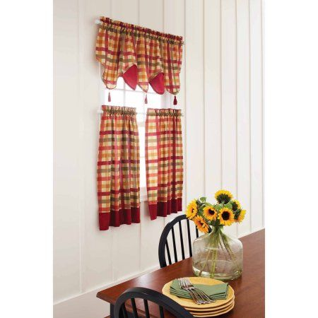 Charmant Better Homes And Gardens Red Check Valances   Walmart.com. Kitchen  CurtainsKitchen ...